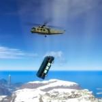 Wie der Bus an den Hubschrauber kommt? Tja...